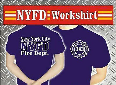 FDNY T-Shirt Work Shirt in navyblau Feuerwehr New York fire department