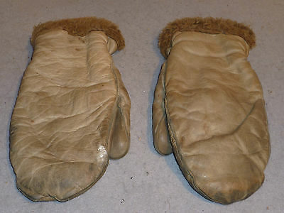 Vintage Lined Leather Hunting Outdoor Sports Work Field Artic Glove Mittens