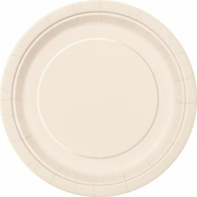 """16 Plain Ivory Round Paper Plates 9"""" New Year Bbq Birthday Tablewear Catering"""