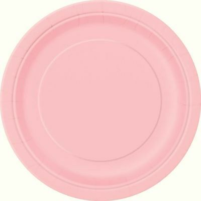 "16 Plain Pastel Pink Round Paper Plates 9"" New Year Bbq Birthday Catering"