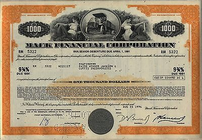 $1,000 Mack Financial Corporation Bond Stock Certificate Truck Ohio