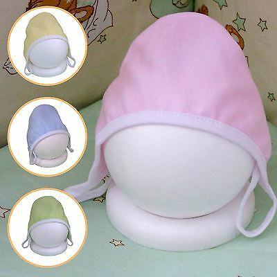Newborn Infant First Hat Premmie Hat With Strings Baby Colours 100% Cotton