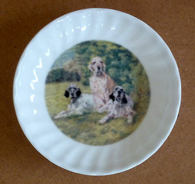 "Reduced English Setter Dog Fine China Trinket Dish 4.4"" Paddock House Collection"