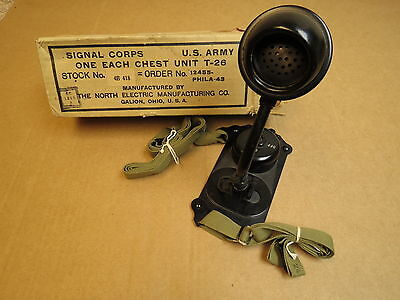 Rare U.S. Army WWII era Signal Corps T-26 Chest Microphone Unit