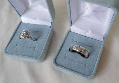 Vintage Lot of 2 Epiphany Sterling Silver Rings CZ Comfort Band SW 925 New QVC
