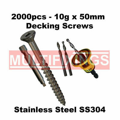 2000pcs - 10g x 50mm Stainless Steel Type 17 Decking Screws + Clever Tool