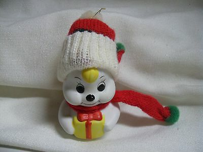 Vintage Snowman Bell Giftco Porcelain Ornament Snow Bells Hat Scarf