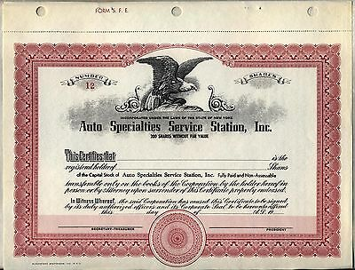 Auto Specialties Service Station, Inc. Stock Certificate New York