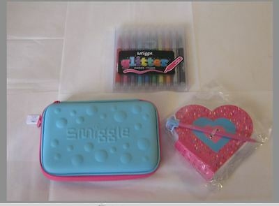 Smiggle  Glitter markers, Pencil case and Note book New Non toxic Back to school
