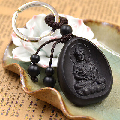 Good Fortune Amulet Keychain Buddha Sutra Wood Keyring Car Bag Purse Hanger 1PC
