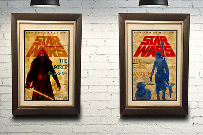 Star Wars The Force Awakens Vintage Two Poster Set 11x17 BB 8 Kylo Ren and Rey