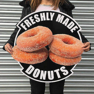 DONUTS large 2ft plastic wall sign plaque  RED BLACK BLUE  cafe coffee shop etc