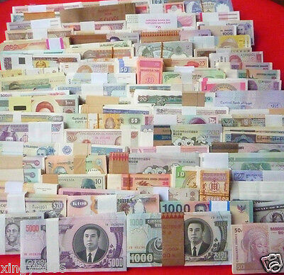 World paper money; lot of 102 well mixed circulated- uncirculated