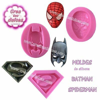 Molde Silicona Spiderman Batman Superman fondant decoracion chocolate jabon