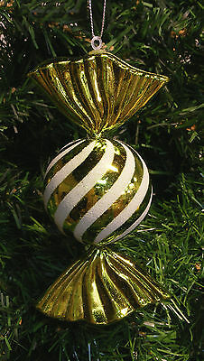 Shatterproof Glittered Green Striped Candy Christmas Tree Ornament