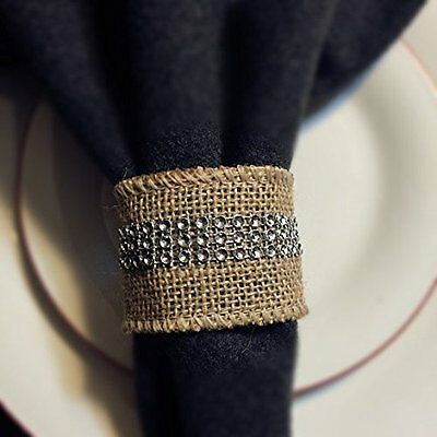 USA Seller - 8pc Set of Burlap Napkin Ring with Silver Bling