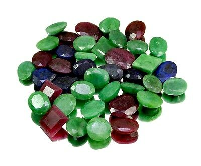 355ct / 40pcs Natural Emerald Sapphire Ruby Ring Size Gemstones Wholesale Lot