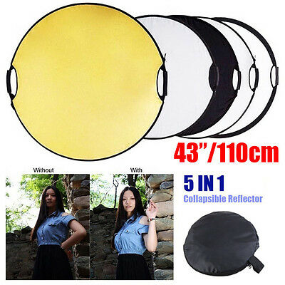 110CM 5 in 1 STUDIO PHOTOGRAPHY PHOTO REFLECTOR & HANDLE GRIP COLLAPSIBLE AU