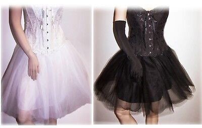 Womens Black White Tulle Ballerina Full Burlesque Rockabilly Skirt Plus Size