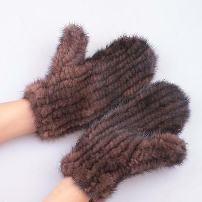 Women Real Genuine Mink Fur Knitted Gloves Mittens Elastic Warmer Winter 2 Color