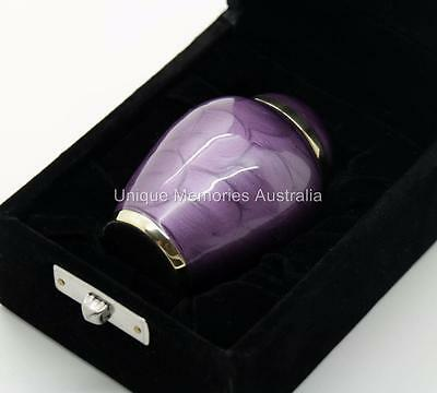 "3"" Solid Brass Lavender Purple Cremation Keepsake Funeral Ash Urn + Velvet Case"