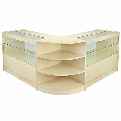 Retail Counter Maple Shop Display Storage Cabinets Glass Shelves Showcase Orion