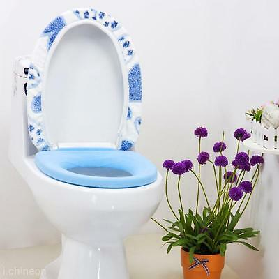 Bathroom Warmer Toilet Seat Pad Mat + Soft Closestool Washable Lid Top Cover Set