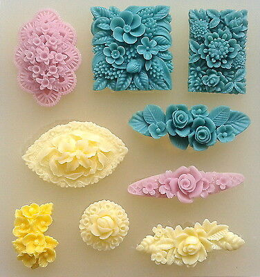 Floral motif flower set lot silicone mould polymer clay fimo resin mold