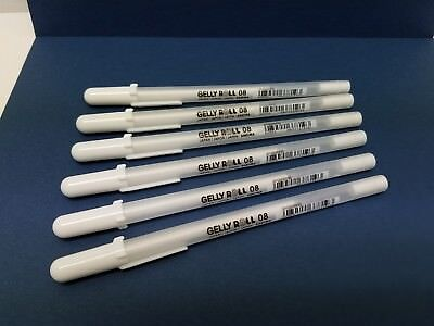 Sakura 6-Piece Gelly Roll Medium Point White Gel Ink Pen SAK-37819 New!!