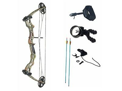 Archery Pro Series Adult Camo Compound Bow Set 50-70lb + Quiver Ready to Shoot