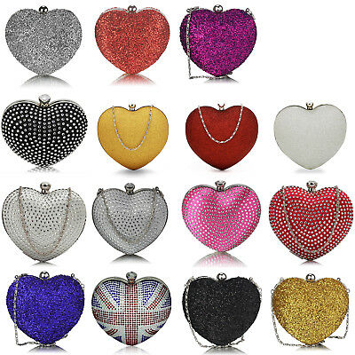 Glitter Diamante Women Hard Case Heart Clutch Bag Bridal Designer Ladies Evening