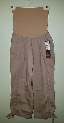 NWT $44 Oh Baby Motherhood Maternity LARGE Crop Pants CAPRI Beige PUMICE  #41215
