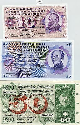 Switzerland 10, 20, 50, 100, 500, & 1000 Francs (#54) Impressive Set. Older Dece