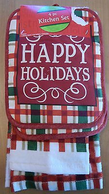 Happy Holidays 4-Piece Kitchen Towels + Pot Holders Set