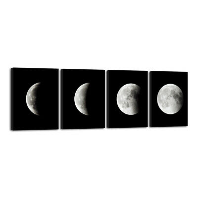 Modern Art Print on Canvas Home Wall Decor Poster Abstract The Moon 4PCS Framed