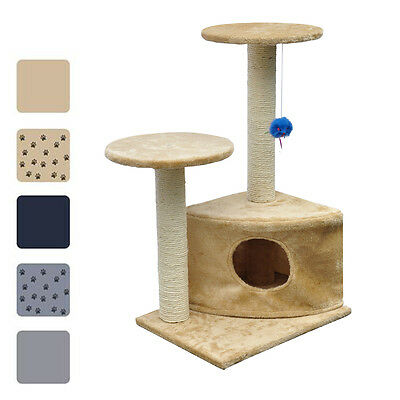 New Cat Tree Plush Pet Scratching Post Toy Bed Furniture 70cm 5 Optional Colours