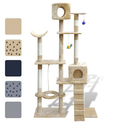 New Cat Tree Plush Pet Scratching Post Toy Bed 175cm 2 Condos 5 Optional Colours