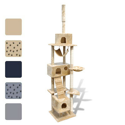 New Cat Tree Plush Pet Scratching Post Toy 220-240cm 3 Condos 5 Optional Colours