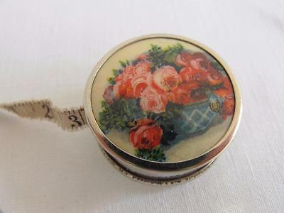 VINTAGE 1950's PRINTED CELLULOID & STEEL SEWING TAPE MEASURE - FLOWER BASKET