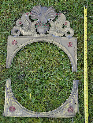 Antique French Belgian Comtoise Morbier Brass Clock Face Surround 7