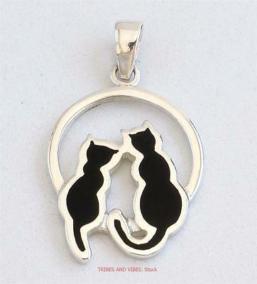 TWO BLACK CATS Pendant 925 Sterling Silver Sea Gems Jewellery NEW