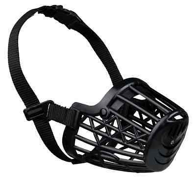 Trixie Close-Mesh Dog Puppy Black Plastic Muzzle Muzzles Adjustable Nylon Strap