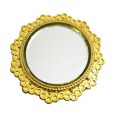 Dollhouse Miniature Gold Rimmed Round Mirror 1:12 Scale Model Room Decoration