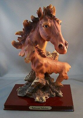 """HORSE COLT MARE FOAL BUST Figurine Goldenvale Collections Resin 10.5"""" tall"""