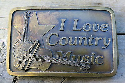 I Love Country Music Indiana Metal Craft 1970's Vintage Belt Buckle
