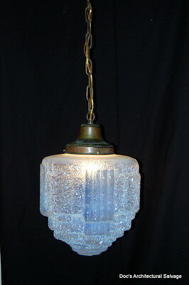 Original Antique Art Deco 1930s Glass Ice Cube Shade Light Fixture