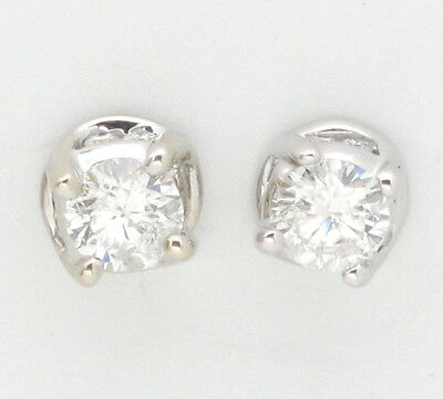 14k White Gold Round Diamond Solitaire Stud Earrings 1.04ct
