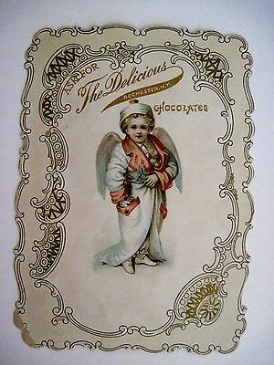 Vintage Victorian Antique Christmas Advertising Card for Chocolates w/ Angel *