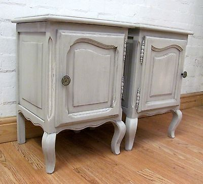 Charming Pair Of Vintage French Painted Bedside Cabinets - C1940