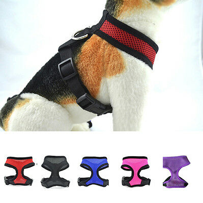 Soft Mesh Fabric Puppy Dog Lead Leash Clip Pet Adjustable Harness Vest